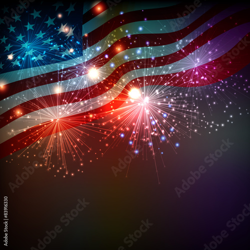 Fototapeta Fireworks background for 4th of July