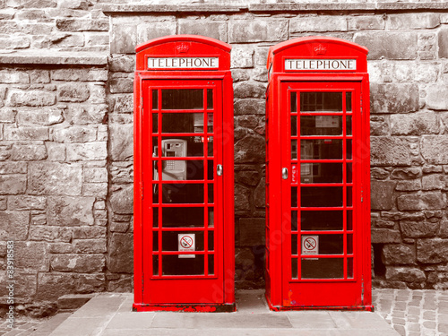 Retro look London telephone box #83918583
