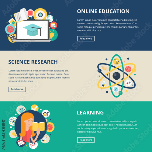 Education And Science Banners Online Education E Learning Sci Buy This Stock Vector And Explore Similar Vectors At Adobe Stock Adobe Stock