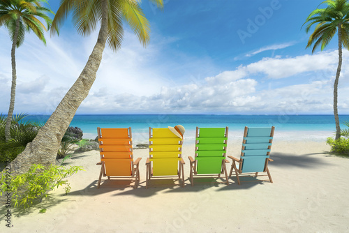 Deurstickers Strand Colorful chairs on the beach