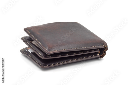 Fotografía  Brown wallet isolated on white background.