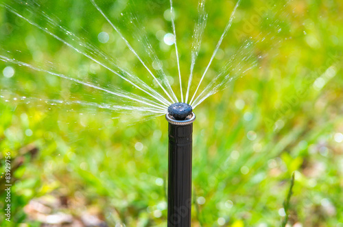 Irrigation equipment watering green grass