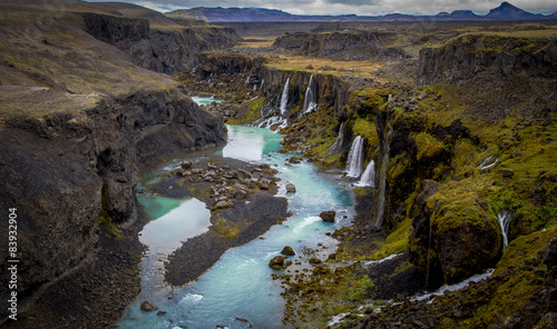 Photo  Iceland Canyon with blue river