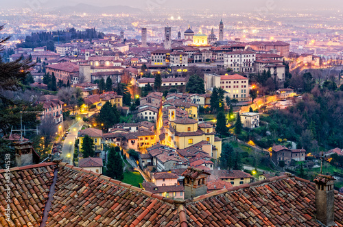 Valokuvatapetti Scenic view of Bergamo old town cityscape at sunset, Italy