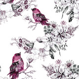 Seamless pattern with summer herbs and birds. Watercolor - 83943165