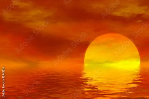 romantischer Sonnenuntergang über Meer, Illustration,