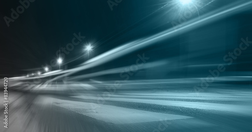 Photo acceleration speed motion on night road