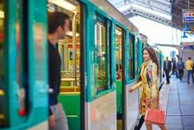 Young Beautiful Parisian Woman In Subway