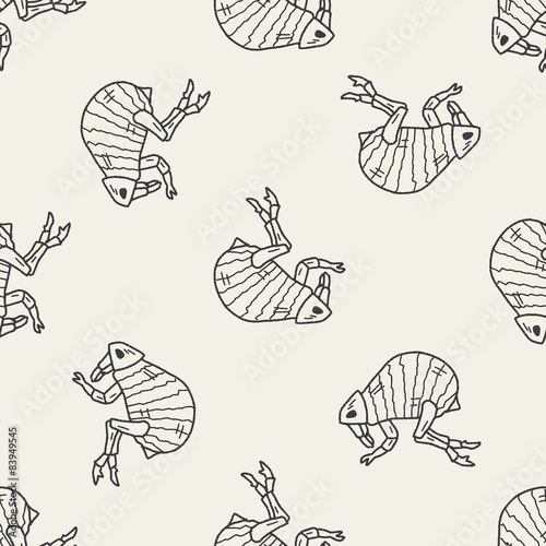 Flea doodle seamless pattern background Poster