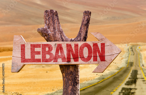Poster Algérie Lebanon wooden sign with desert background