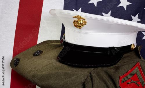 Fotografie, Obraz  United States of America Marine Corps and USA flag