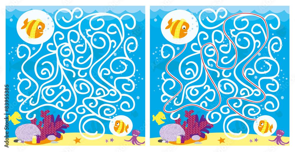 Fototapeta labirynt z rybkami -scena pod wodą z rafą, piaskiem, bąbelkami