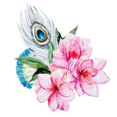 Panel Szklany Boho Watercolor flowers