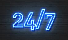 24/7 Open Concept Neon Sign