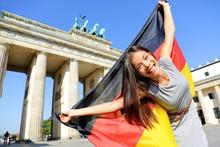 German Flag Woman Happy At Ber...