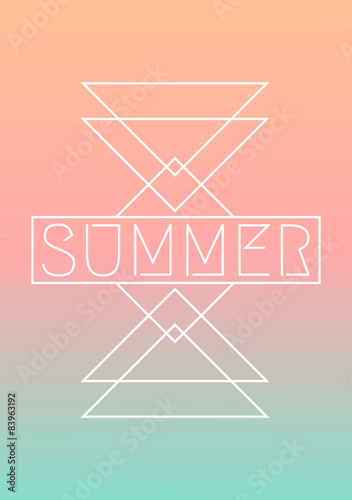 Garden Poster Retro sign Abstract Geometric Summer Design