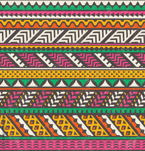 Colorful ethnic print. Vector seamless background. Canvas Print