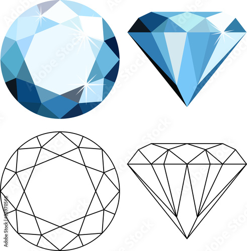 Flat style diamonds Canvas Print