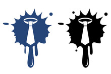 Necktie - Vector Blue And Black Icon Isolated