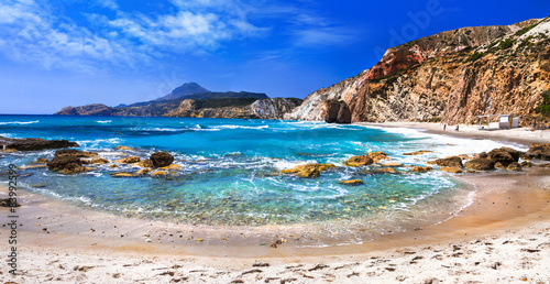 Garden Poster Pale violet beautiful scenic beaches of Greek islands - Fyriplaka on Milos