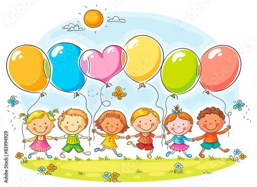fototapeta na drzwi i meble Dzieci z balonów