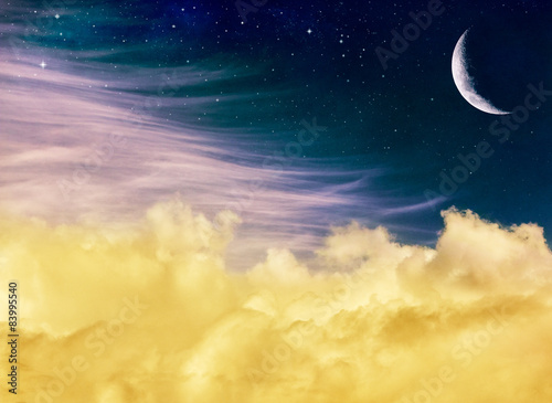 Fotobehang - Fantasy Moon and Clouds