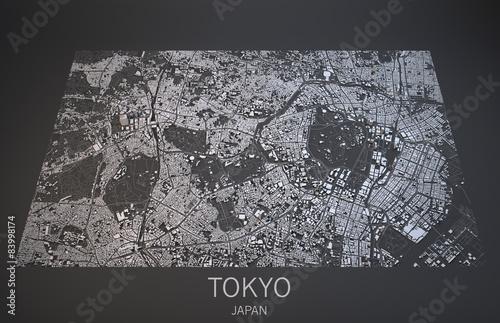 Fotomural Mappa Tokyo, vista satellitare, Giappone, 3d
