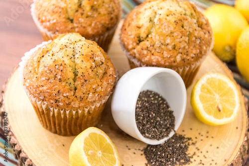 fresh baked lemon poppyseed muffins Wallpaper Mural