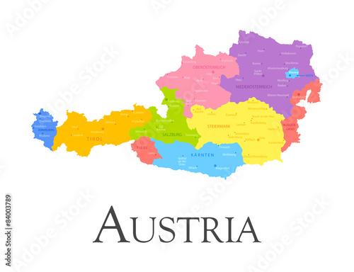 Austria regional map Tablou Canvas