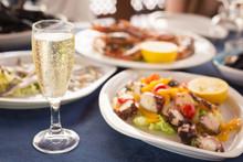 Italian Cuisine. Glass Of Pros...