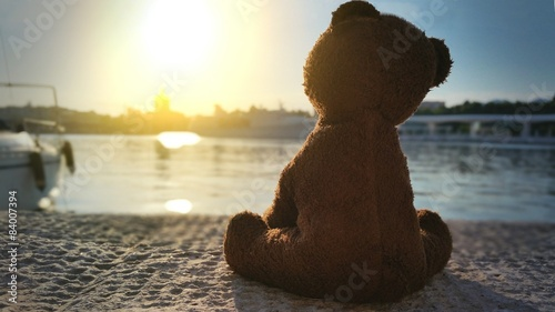 Fotografie, Obraz  Teddy bear in the pier