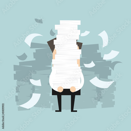 Businessman holding a lot of documents in his hands Fototapet