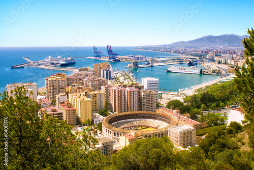 View of Malaga with bullring and harbor. Spain Canvas Print