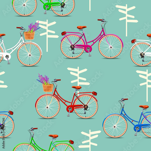 Cotton fabric Seamless pattern with vintage bicycles