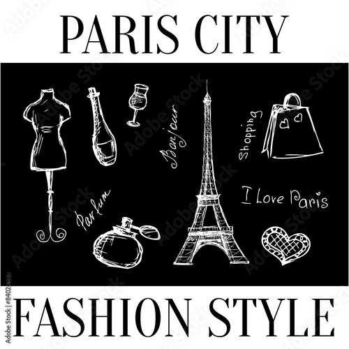 Paris City Fashion Style Symbols Of The City Vector Buy This