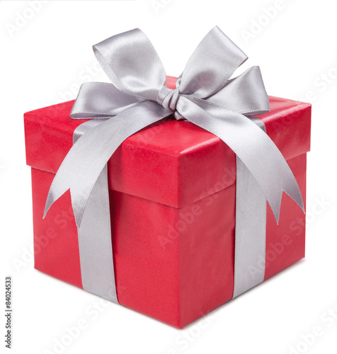 Fotografía  Red box with gift tied with gray bows isolated on white backgrou