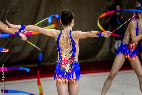 Poster de jardin Gymnastique The girl gymnastics is back with gymnastic ribbon