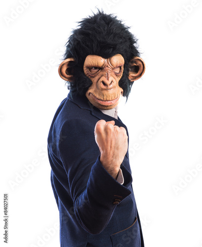 Autocollant pour porte Doux monstres Lucky monkey man over white background