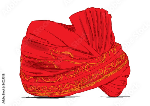 Valokuva Indian Headgear Turban used in Marriages - Vector Illustration