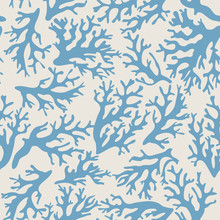 Coral, Seashells Seamless Pattern In Vintage Style