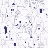 Seamless pattern. Figure cities in vintage style. - 84033715