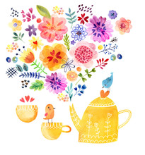 Cute Tea Time Card Watercolor