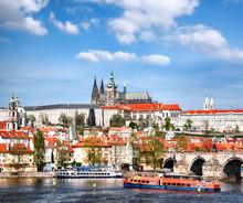 Prague Castle With Famous Charles Bridge In Czech Republic