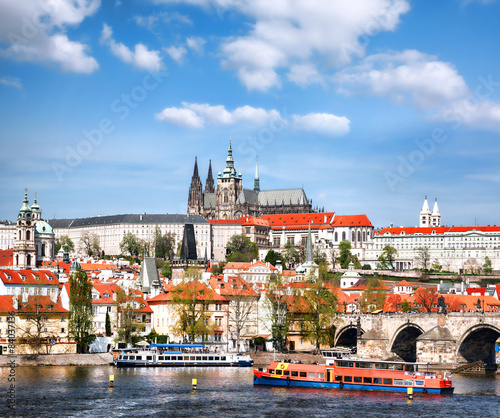 Staande foto Praag Prague Castle with famous Charles Bridge in Czech Republic
