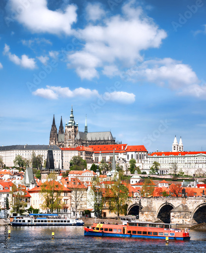 Staande foto Praag Prague Castle with famous Charles Bridge in Czech Republic