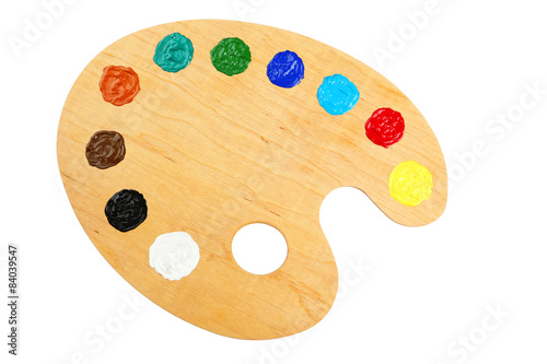 Obraz na płótnie Wooden art palette with paints isolated on white