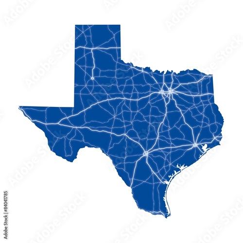 Cuadros en Lienzo Texas road map