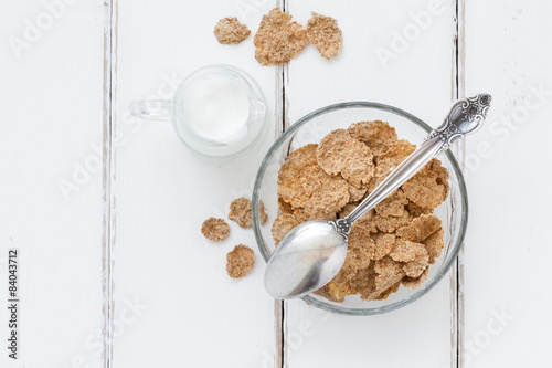 Bran flakes - top view healthy breakfast composition - Buy