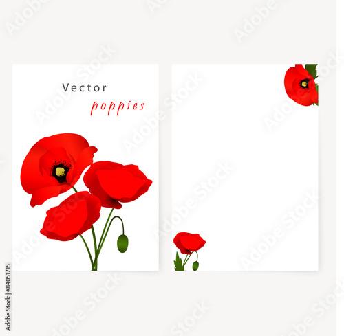 Fototapeta Template card with red flowers poppies obraz na płótnie