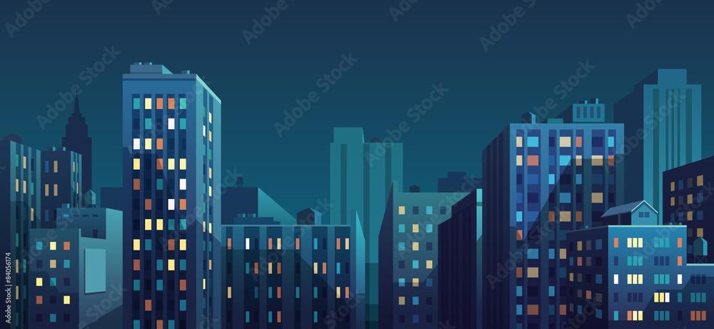 Nocna panorama miasta. Ilustracji wektorowych. <span>plik: #84056174 | autor: Diashule</span>